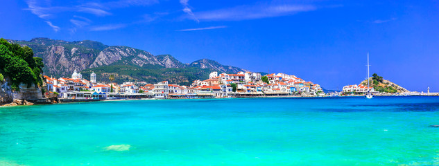 Canvas Prints Turquoise Most beautiful traditional villages of Greece - Kokkari in Samos island. crystal sea and taverns