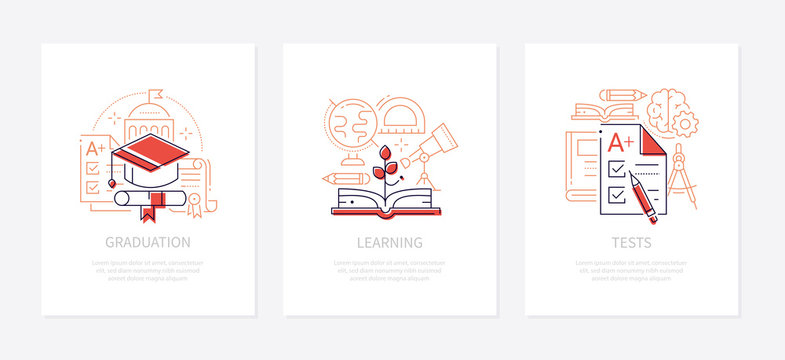 Education - vector line design style banners set