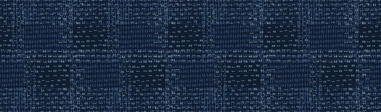 Embroidery Boro Patch Kantha Vector Border Pattern. Asian Needlework Seamless Background Indigo Blue. Sashiko Running Hand Stitch Texture Textile Trim. Japan Decor. Masculine Ribbon Trim. EPS 10