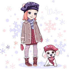 Vector Cute Baby girl in winter clothes with puppy labrador dog