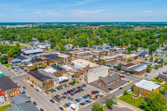 Small Town Indiana Aerial View - Nappanee, Indiana