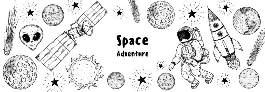 Hand drawn space vector illustration. Planets, rocket, satellite, cosmonaut illustration. Space elements. Hand drawn sketch