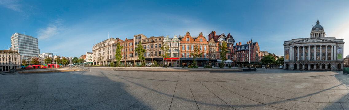 Panoramic of the city of Nottingham. United Kingdom