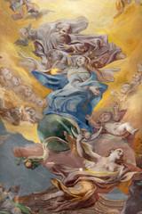 Wall Mural - COMO, ITALY - MAY 8, 2015: The fresco of Assumption of Virgin Mary  in church Santuario del Santissimo Crocifisso.