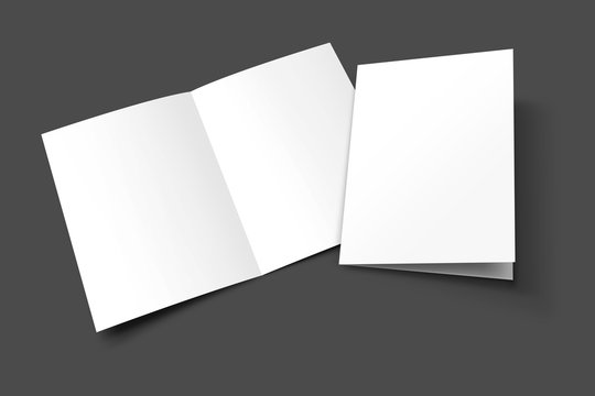 A3 half fold Blank opened and closed 3D illustration magazine mock-up with cover. Book, Brochure, Pamphlet, Catalog empty mockup for Presentation on isolated dark grey background. 3D illustrating