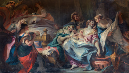 COMO, ITALY - MAY 8, 2015: The Painting of Nativity of Virgin Mary in church Santuario del Santissimo Crocifisso by Carlo Inncenzo Carloni (1687 – 1775).