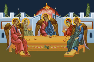 The Hospitality of Abraham. Holy Trinity. Illustration in Byzantine style. Fotomurales