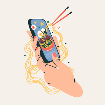 Hand holding phone with ramen bowl. Food delivery. Communication, social networking concept. Stylized hand drawn vector illustration for Mobile Application or web sites and banner design