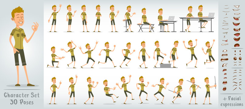 Cartoon funny cute blonde scout boy character in green uniform. 30 different poses and face expressions. Isolated on white background. Big vector icon set.