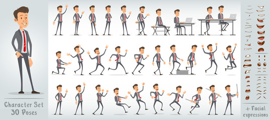 Cartoon funny cute office boy character in blue suit with red tie. 30 different poses and face expressions. Isolated on white background. Big vector icon set.