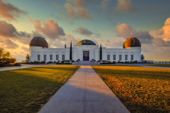 Landscape view of Griffith observatory in Los Angeles with dramatic colorful sky