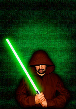 Jedi warrior with green lightsaber