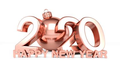 3d Illustration - Christbaumkugel 2020 - Silvester, Neujahr, Countdown, Jahreszahl - pink