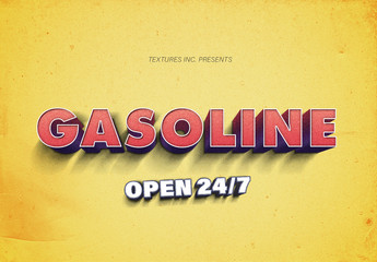 Retro Gas Station Style Text Effect Mockup