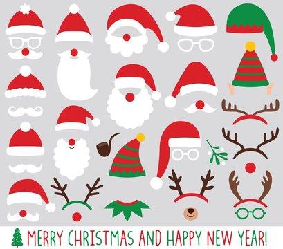 Santa Claus and elf hats, reindeer antlers, Christmas party vector set
