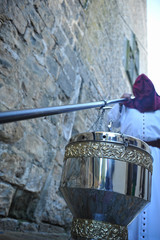Big censer in the famous Easter Week (Semana Santa) of Baeza, Jaen province, Spain. Holy Week in Andalusia.