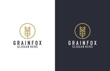 Grain and fox logo design illustration