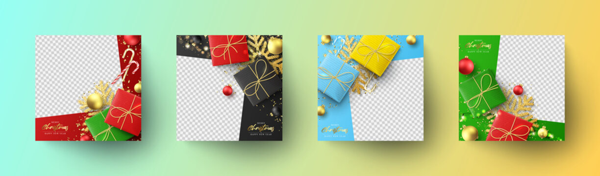Set Christmas and New Year banners. Holiday social media posts. Social media banners for promote goods and festive congratulations. Vector illustration with greeting card.