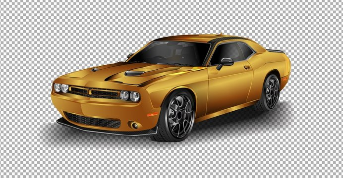 SCOTTSDALE, AZ - SEPTEMBER 5, 2015: Gray 2015 Dodge Challenger SRT vector illustration on transparent background, racing exclusive car with realistic shadow