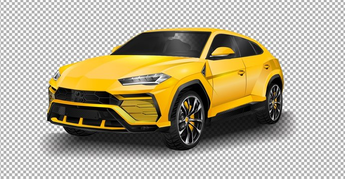 Geneva, Switzerland - March 2018: Lamborghini Urus super SUV driving in suburban Geneva. vector illustration on transparent background, racing exclusive car with realistic shadow