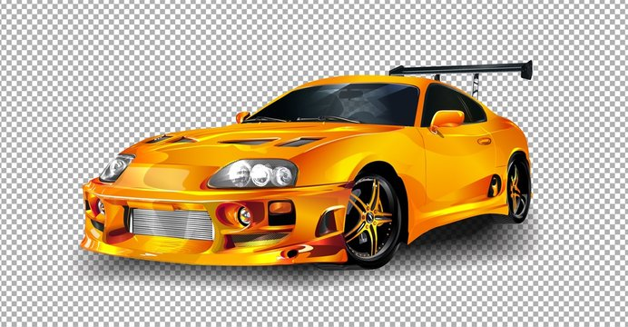 NONTHABURI THAILAND-JUNE 20 : Toyota Supra vector illustration on transparent background, racing exclusive car with realistic shadow