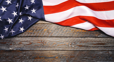 United States Flag On wooden background or backdrop, copyspace for your individual text.