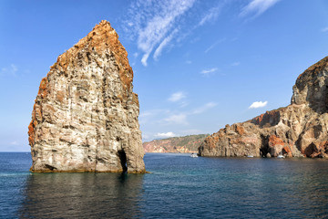 Island of Lipari with the Pietra Lunga (long stone) on the left.