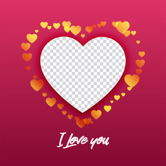 Vector illustration of blank photo frames template design inscription I love you and hearts for valentines day.