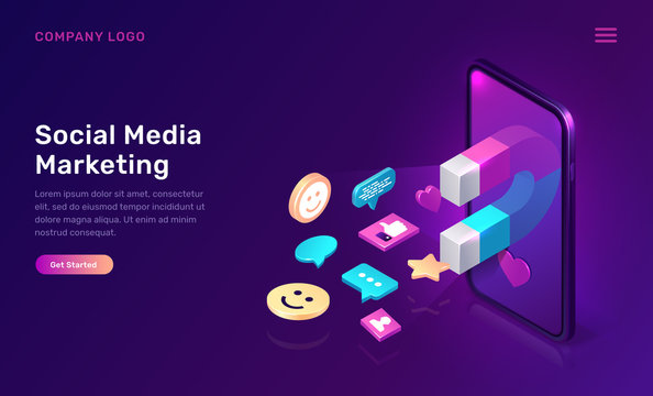 Social media marketing, viral mms, vector isometric concept. 3D mobile phone screen with large magnet attracting social media content icons, like and followers, chat messages, ultraviolet app web page