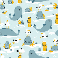 Seagulls and seals. Vector seamless pattern in hand drawn scandinavian cartoon style. The illustration in a limited palette is ideal for printing on fabric, textiles, wrapping paper for children.
