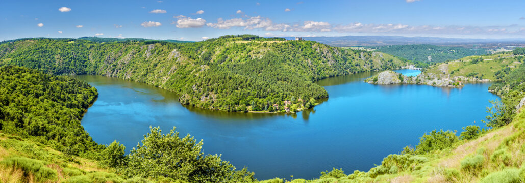 Panoramic view of Gorges of Loire river and the natural reserve area in French Auvergne-Rhone-Alpes region. Grangent island is at right, Camaldules peninsula is in center.