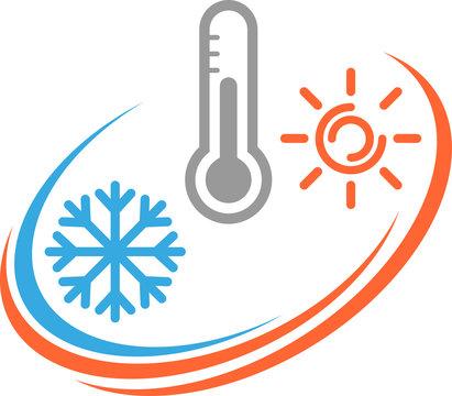 Thermometer, Sonne und Schneeflocke, Temperatur Logo