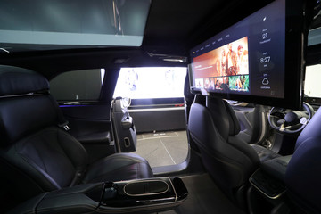 The interior of Faraday Future's luxury electric car FF91 is seen at the company's headquarters in Gardena