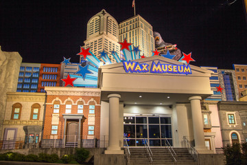 Pigeon Forge Tennessee, USA - May 15, 2017: Exterior of the Hollywood Wax Museum in Pigeon Forge, Tennessee. The museum is a popular tourist attraction in the resort town of Pigeon Forge