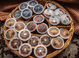 Port Huron, Michigan, USA - February 18, 2016 - A variety of the popular Keurig K Cups. Keurig sells a single cup brewer system that offers products by Starbucks, Folgers, Green Mountain and others.
