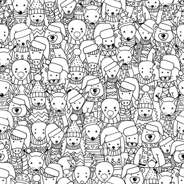 Abstract seamless pattern with lots of animals in Scandinavian style, coloring page