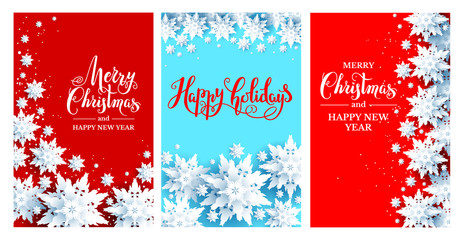 Fotomurales - Holiday Chrismas festive cards set