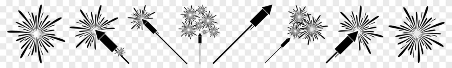 Fireworks Icon Black | Firecracker | New Year Symbol | Pyrotechnics Logo | Firework Rocket Sign | Isolated Transparent | Variations