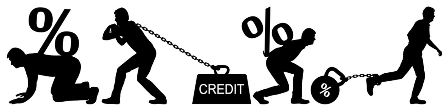Man carries a heavy burden. Credit on chain at bank. Expensive mortgage. Large interest on the loan. Man pulls bank interest. Vector silhouette isolated set