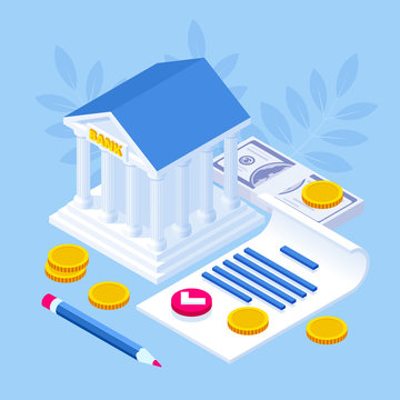 Isometric concept of banking loan, money loans. Loan document and agreement with pen for signing.