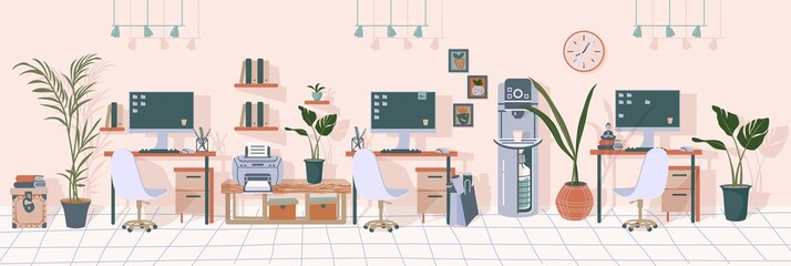Office interior. Modern furniture, including printer, water cooler, computer, lamp. Workplace in the office of the corporation. Vector illustration in flat style.