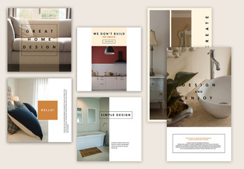 Social Media Post Layout Set with Neutral Colors