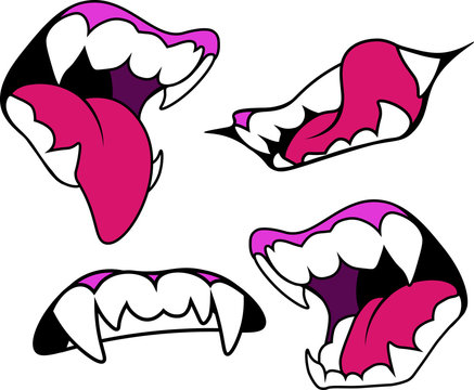 mouth with fangs in four versions. Halloween vector illustration. Design elements for advertising and promotion. Isolated on white background.