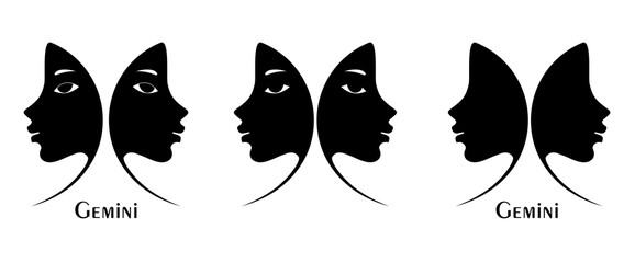 Set Profile of two girl, Sign of Gemini. Logo. Silhouette image.