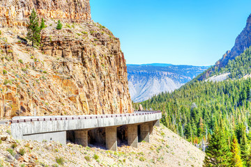 Grand Loop Road through Golden Gate Canyon of Yellowstone National Park