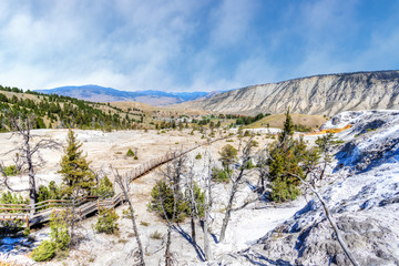 Overlook of the Lower Terrace of Mammoth Hot Springs at Yellowstone