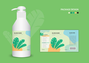 Label natural banana leaf concept template for cleanser, container, Batcher, cosmetic, cream, shampoo, oil, spa, gel, cream, soap. package design. Realistic bottle of liquid soap. vector illustration Wall mural