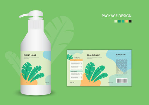Label natural banana leaf concept template for cleanser, container, Batcher, cosmetic, cream, shampoo, oil, spa, gel, cream, soap. package design. Realistic bottle of liquid soap. vector illustration