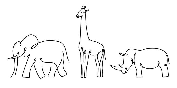 Thin line elephant, rhino and giraffe.