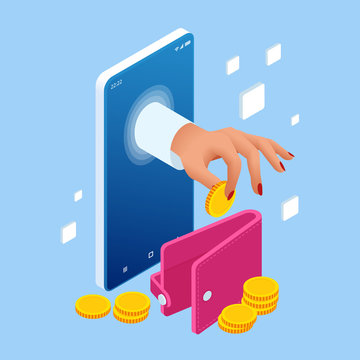 Saving Money Isometric concept. Cashback and Saving Money Concept. Money Refund. Digital Payment or Online Cashback Service. Electronic invoice.